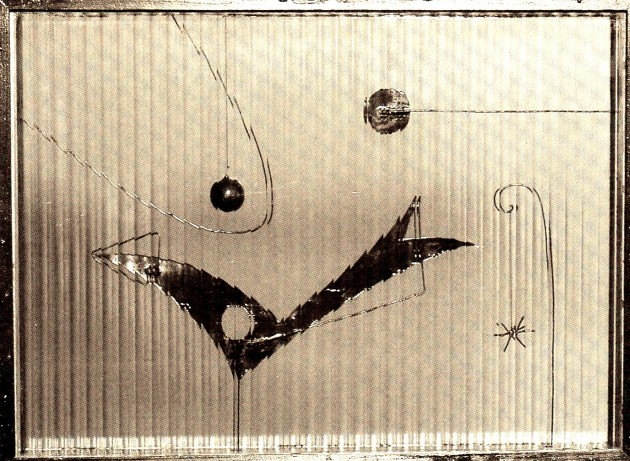 """""""The Poetics of Space"""" (1958) By Kansuke Yamamoto, mixed media, the photocopy from the 2001 exhibition catalog, Tokyo Station Gallery is provided courtesy of Toshio Yamamoto."""