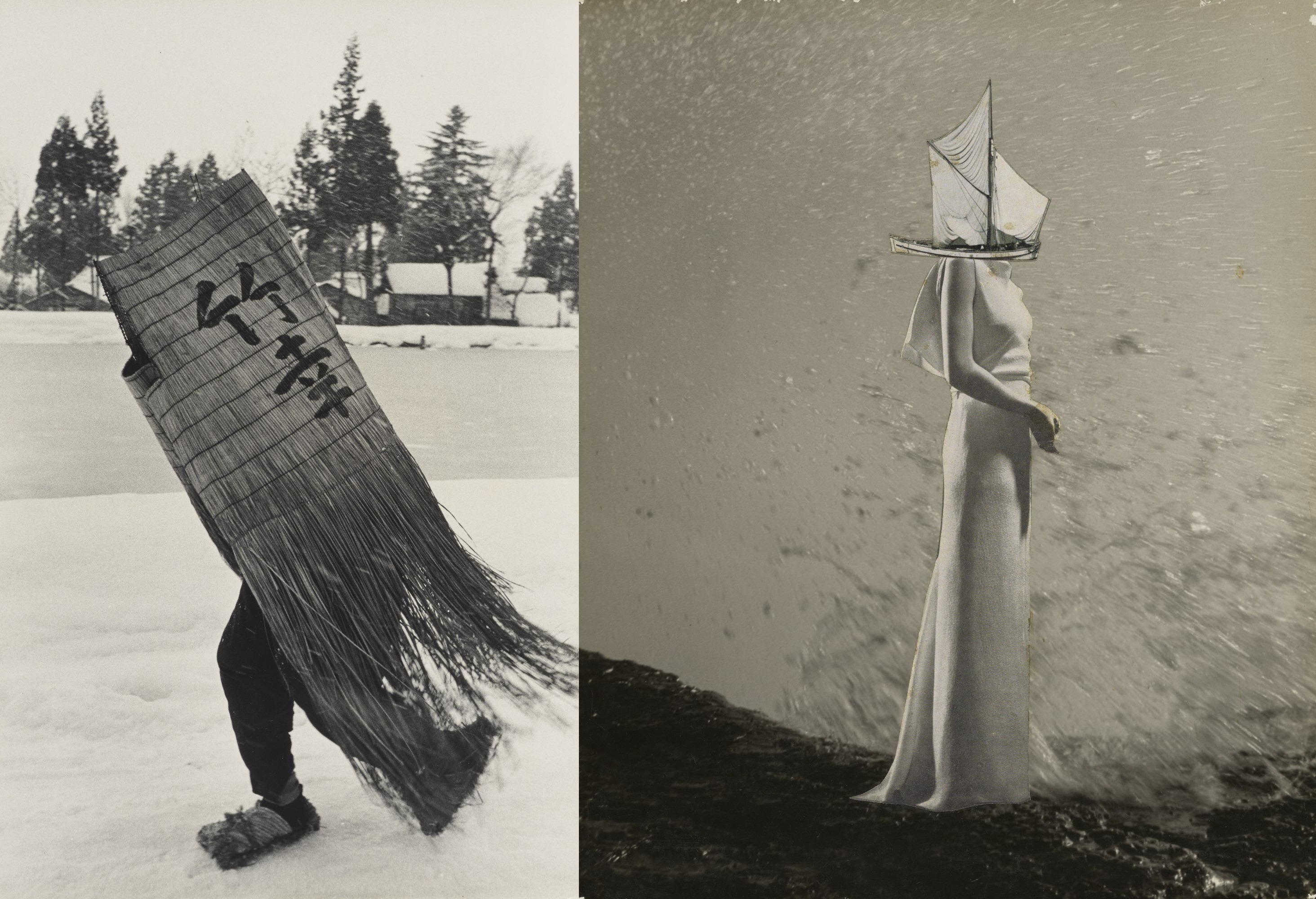 "(Left: ""Man in a Traditional Minoboshi Raincoat, Niigata Prefecture"" (1956) by Hiroshi Hamaya, gelatin silver print, © Keisuke Katano The J. Paul Getty Museum, Los Angeles/ Right: ""A Chronicle of Drifting"" (1949) by Kansuke Yamamoto, collage, © Toshio Yamamoto Private collection, entrusted to Tokyo Metropolitan Museum of Photography)"