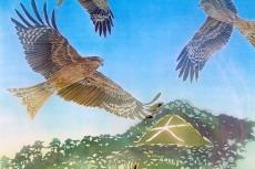 Black Kites by Melinda Heal, katazome artist