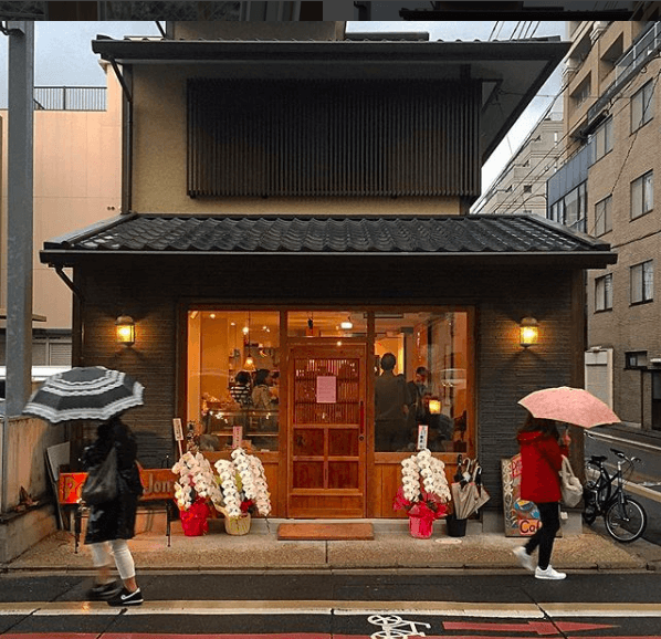 Rokkaku cafe small buildings of Kyoto Japan