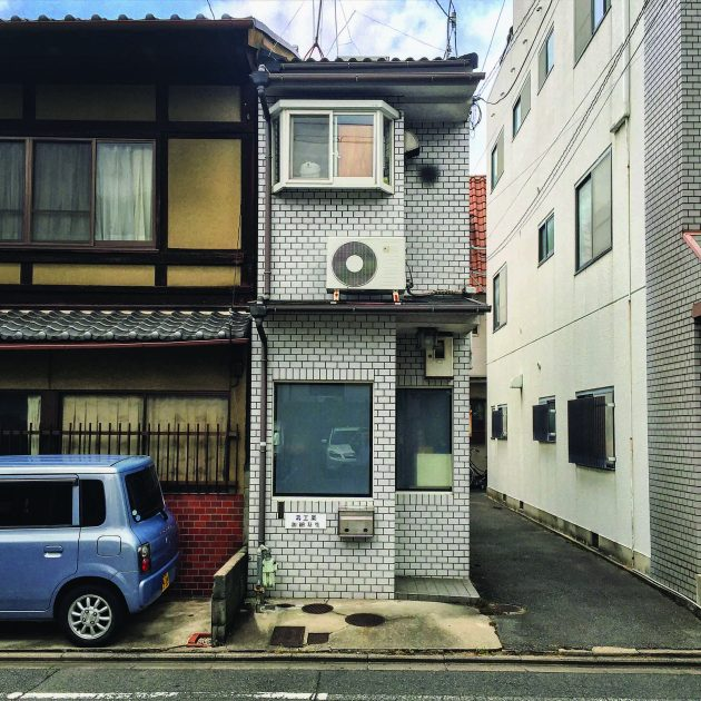 Small building on street corner in Kyoto Japan