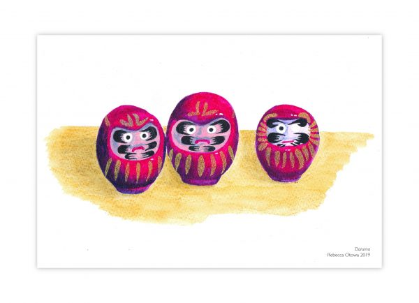 Rebecca Otowa postcard illustrated daruma