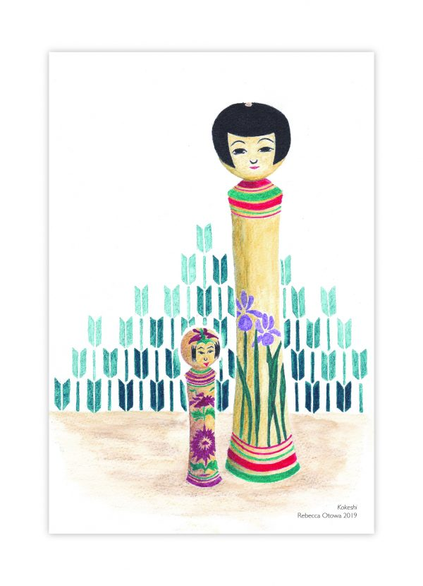 Rebecca Otowa postcard illustrated kokeshi