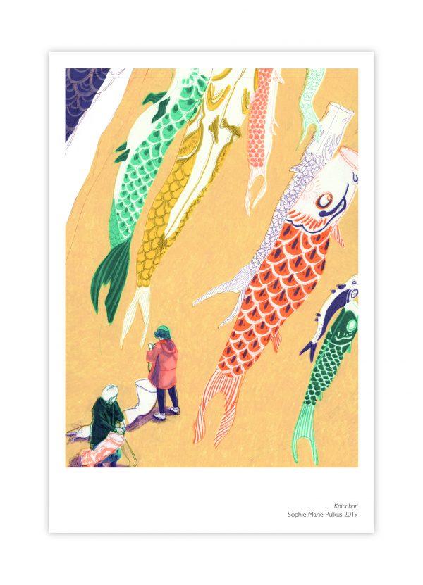 Sophie Marie Pulkus Japan postcard koinobori