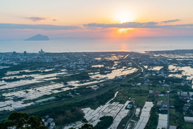 The beautiful sunrise landscape of Lanyang Plain at Yilan, Taiwan