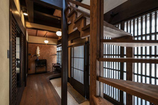 Renovated machiya interior design Otsu Shiga Hachise Japan