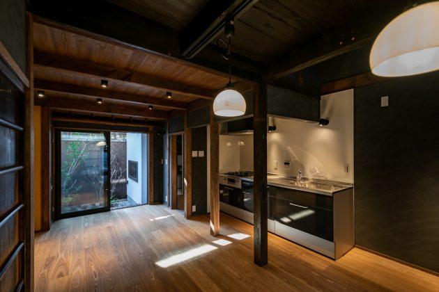 Renovated machiya interior design kitchen Miidera Otsu Shiga Hachise Japan