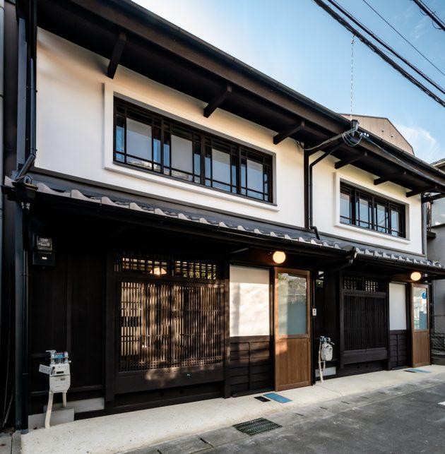 Renovated machiya traditional house facade Otsu Shiga Hachise Japan